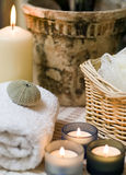 Spa items. A spa items composition with towel and candles Royalty Free Stock Photo