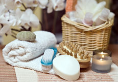 Spa items. A spa items composition with soap, towel and brush Royalty Free Stock Photography