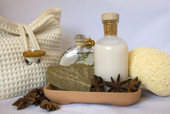 Spa items. Skin and bodycare items in a spa Stock Image