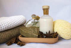 Spa items. Skin and bodycare items in a spa Royalty Free Stock Image