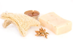 Spa items. Natural soap, candle ans spongle isolated on the white stock photo