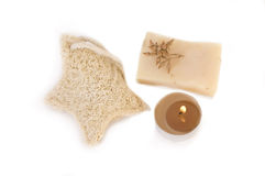 Spa items. Natural soap, candle ans spongle isolated on the white royalty free stock photos