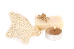 Spa items. Natural soap, candle ans spongle isolated on the white royalty free stock images
