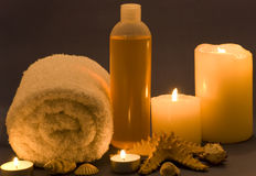 Spa items. Different kinds of spa items with candles Stock Photos