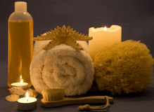Spa items. Different kinds of spa items with candles Stock Photo