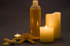 Spa items. Different kinds of spa items with candles Royalty Free Stock Images