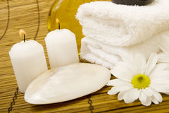 Spa items on bamboo Stock Photography
