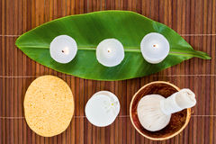Spa items. Items for health spa treatment view from top Stock Photography