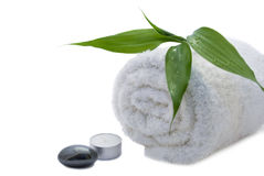 Spa items lying on a towel Royalty Free Stock Photo