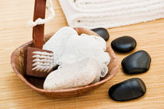 Spa items with massage stones Stock Photo