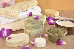 SPA items and orchid. Royalty Free Stock Photos