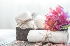 Spa items with orchid stock photos