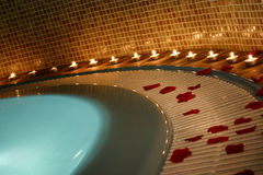 Spa and jacuzzi. Concept with candles Stock Photography