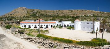 Spa Kalithea Rhodos Greece historic buildings architecture. Flower nature travel royalty free stock image