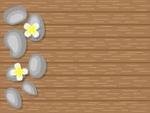 Spa kiselstenar och vita blommor på bästa sikt för träbakgrund stock illustrationer