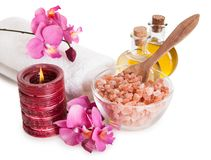 Spa Kit With Sea Salt. Isolated Over White Background Royalty Free Stock Image