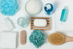 Spa Kit. Shampoo, Soap Bar And Liquid. Shower Gel. Aromatherapy Stock Image