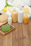Spa Kit. Shampoo, Soap Bar And Liquid. Shower Gel. Towels. Woode Stock Images