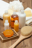 Spa Kit. Shampoo, Soap Bar And Liquid. Shower Gel. Towels. Woode Royalty Free Stock Photos