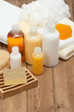 Spa Kit. Shampoo, Soap Bar And Liquid. Shower Gel. Towels. Woode. Spa Kit. Shampoo, Soap Bar And Liquid. Shower Gel, Towels On Wooden Table Stock Photography