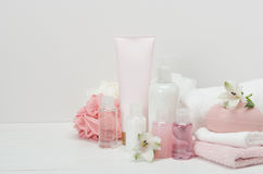 Spa Kit. Shampoo, Soap Bar And Liquid. Toiletries Stock Photography