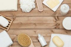 Spa Kit. Top View. Shampoo, Soap Bar And Liquid. Shower Gel. Aro Royalty Free Stock Image
