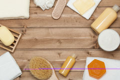 Spa Kit. Top View. Shampoo, Soap Bar And Liquid. Shower Gel. Aro Stock Image