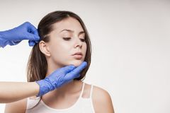 Spa kvinnabehandling Doktorshudklinik Cosmetology skönhethud arkivbild