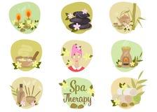 Spa lägenhetsymboler royaltyfri illustrationer