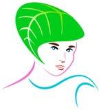 Spa lady. Isolated line art brush stroke logo design Stock Photography