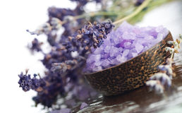 Spa.Lavender. Spa.Scented Sea salt and lavender.Selective focus.With copy-space Stock Photography