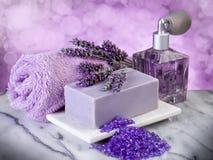 Spa lavender bath products stock photo