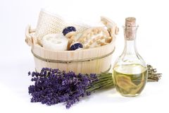 Spa with Lavender Oil Royalty Free Stock Photography