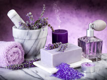 Spa lavender products. On marble table Stock Photos