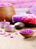 Spa lavender salt set Royalty Free Stock Photo