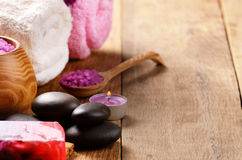 Spa lavender salt set Royalty Free Stock Photography