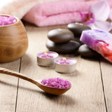 Spa lavender salt set Stock Photography