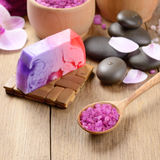 Spa lavender salt set Stock Image