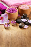 Spa lavender salt set Royalty Free Stock Photos