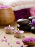 Spa lavender salt set on the wooden table Royalty Free Stock Photo