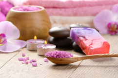 Lavender salt spa set Royalty Free Stock Photo