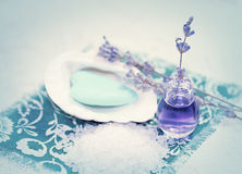 Spa with lavender and sea salt Royalty Free Stock Images
