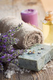 Spa with lavender and towel Stock Photography
