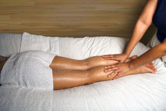 SPA LEG AND FOOT MASSAGE DETAIL Stock Photo