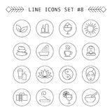 Spa and leisure linear icons Royalty Free Stock Photo