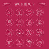 Spa and leisure linear icons Royalty Free Stock Image