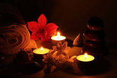 Spa in the light of the candles Royalty Free Stock Images