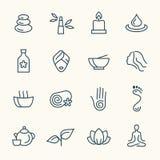 Spa linje symbolsuppsättning Royaltyfria Bilder