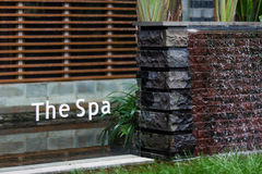 Spa logo. A spa logo outside spa room stock photo