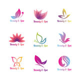 Spa logo set. A set of collorful spa logos stock illustration